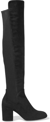 Stuart Weitzman - Halftime Suede And Stretch Over-the-knee Boots - Black $675 thestylecure.com