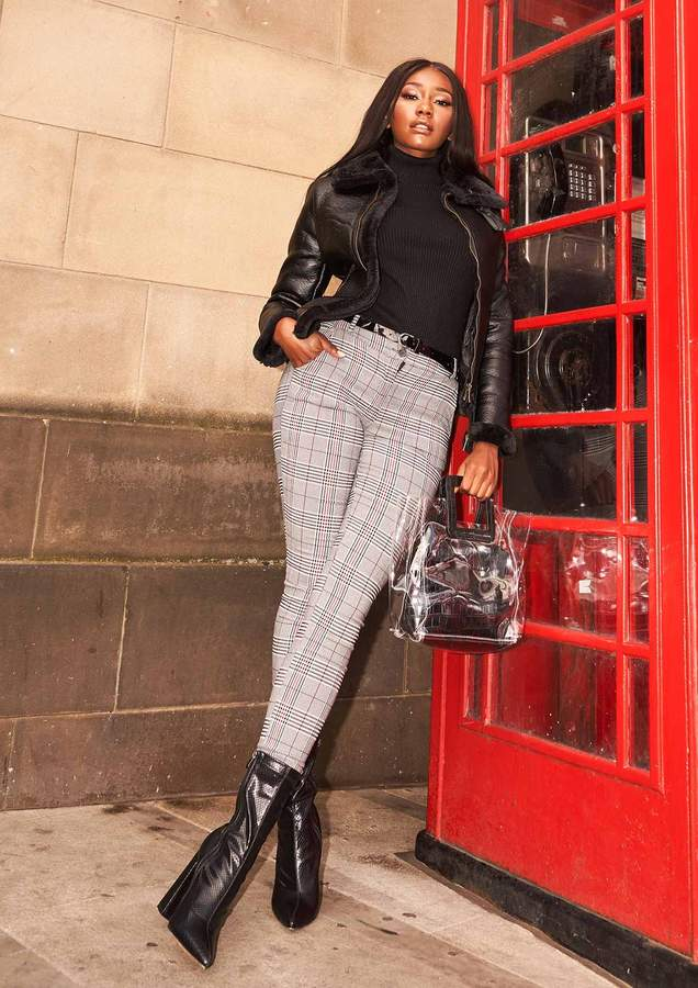 Missyempire Britany Grey Check Belted Trousers