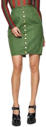 Jean Paul Gaultier Green Denim Skirt