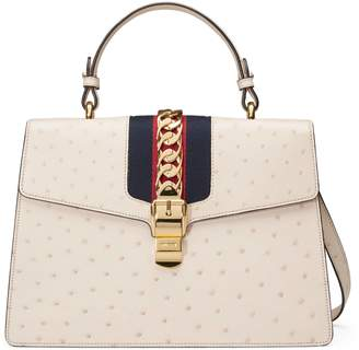 Gucci Sylvie medium ostrich top handle bag
