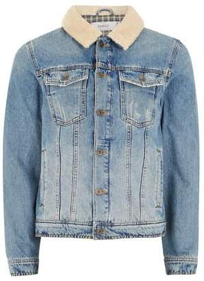Topman Mens Blue Light Wash Borg Collar Denim Jacket