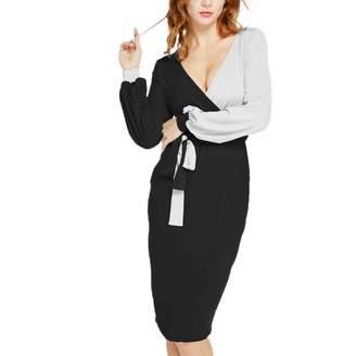 52b06d48a429 Hotcl Christmas Women Sexy Patchwork Dress Winter Long Sleeve Deep V Neck  Wear to Work Cocktail