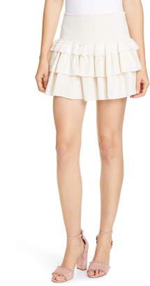 LoveShackFancy Dana Eyelet Detail Ruffle Cotton Skirt