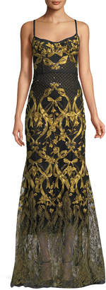 Marchesa Embroidered Corset Gown w/ Adjustable Straps