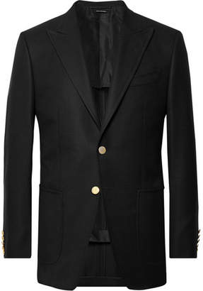 Tom Ford Black O'connor Slim-Fit Wool And Mohair-Blend Hopsack Blazer