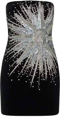 Balmain Sunburst Velvet Mini Dress