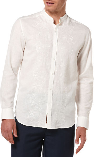 Cubavera Slim Fit Banded Collar with Embroidery Shirt