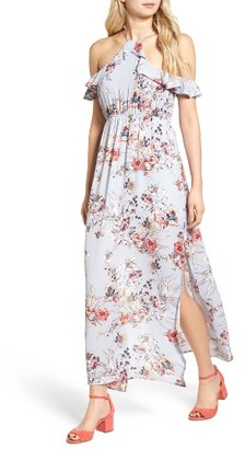 Women's One Clothing Floral Cold Shoulder Maxi Dress $55 thestylecure.com