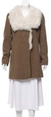 Theory Fur-Trimmed Wool Coat