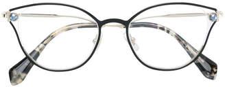 Miu Miu faux pearl-embellished cat-eye glasses
