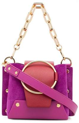Yuzefi purple and red Delila mini suede cross-body bag