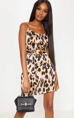 PrettyLittleThing Tan Satin Leopard Print Tortoiseshell Belt Shift Dress
