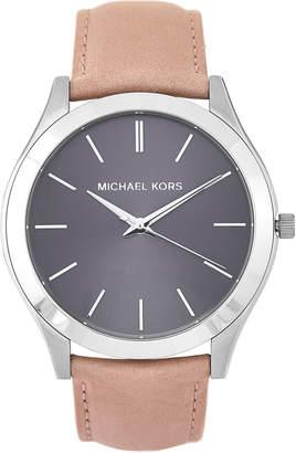 Michael Kors MK8616 Grey & Beige Slim Runway Leather Strap Watch