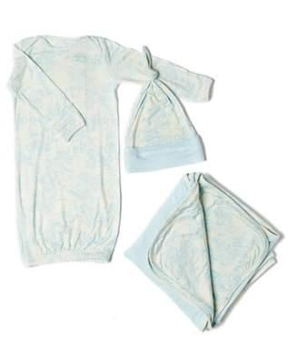 Baby Grey Gown, Hat & Blanket Set