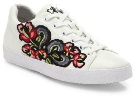 Ash Nak Bis Floral Embroidered Leather Sneakers $198 thestylecure.com