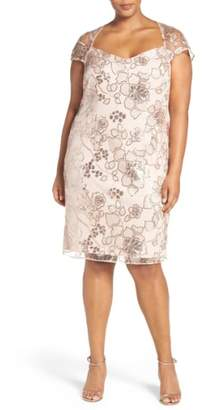 BRIANNA Embellished Embroidered Lace Cocktail Dress