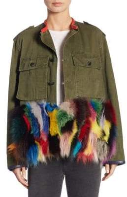 Vintage Fox Fur-Trimmed Army Jacket