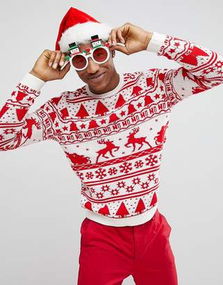 Asos Design DESIGN Christmas jumper with festive design in red