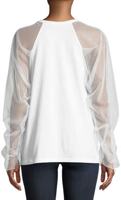 See by Chloe Mesh-Sleeve Crewneck Cotton Top