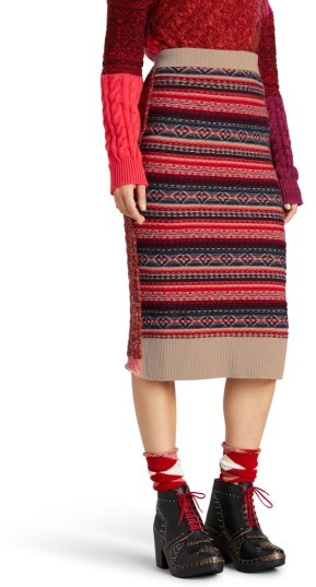 Women's Burberry Knit Wool Blend Pencil Skirt