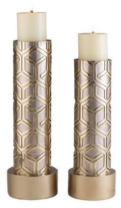 "OK Lighting Rose Gold Savannah Candleholder Set, Set Of 2, 14"" and 16""H"
