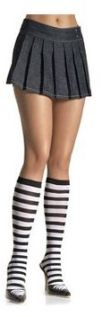Leg Avenue Stripe Knee High, Black/White, One Size