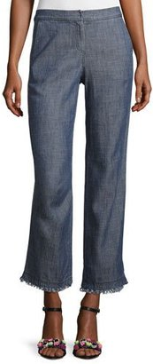 Trina Turk Filipe Cropped Chambray Pants, Blue $238 thestylecure.com
