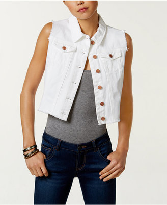 Buffalo David Bitton Cotton Cropped Denim Vest $79 thestylecure.com