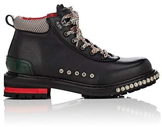 Alexander McQueen Men's Leather Studded Hiking Boots