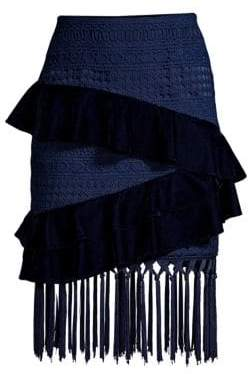 PatBO Velvet& Lace Fringed Mini Skirt