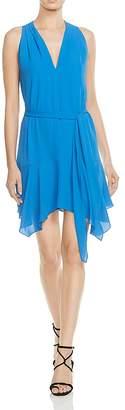 Halston Belted Handkerchief-Hem Dress
