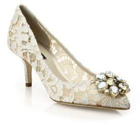 Dolce & Gabbana Embellished Lace Point Toe Pumps