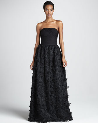 Monique Lhuillier ML Strapless Petal-Skirt Ball Gown