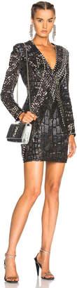 Balmain Long Sleeve Embellished Mini Dress
