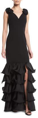 Aidan Mattox Tiered Ruffle Gown w/ 3D Rosette Shoulders