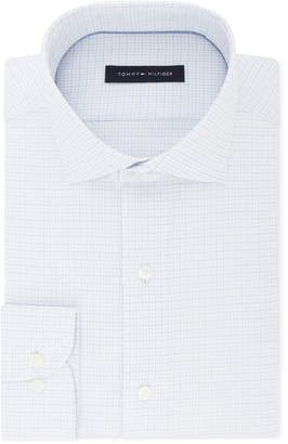 Tommy Hilfiger Men's Classic/Regular Fit Non-Iron Performance Stretch Blue and White Check Dress Shirt