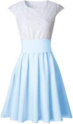 FLANK Womens Lace Cocktail Mini Dress Ladies Summer Short Sleeve Dress&Short skirt S-XL (S, )