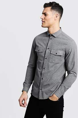 boohoo Brushed Flannel Long Sleeve Utility Shirt