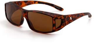JIM HALO Fit Over Polarized Sunglasses Wear Over Night Driving Glasses Men Women (Black/Polarized Green)