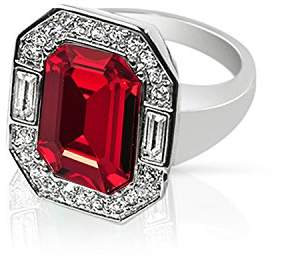 Swarovski Cristalina Wallis Art Deco Style Siam Red Crystal Statement Ring - Size P