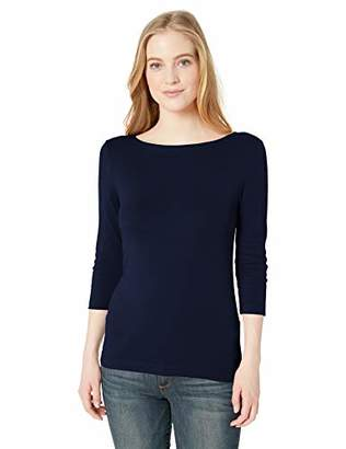 Amazon Essentials Women's Slim-Fit 3/4 Sleeve Solid Boatneck T-Shirt