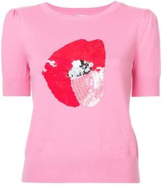 Alice + Olivia Alice+Olivia sequin-embellished lips jumper