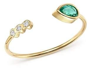 Chicco Zoë 14K Yellow Gold Diamond Bezel & Gemfields Pear-Cut Emerald Bypass Ring