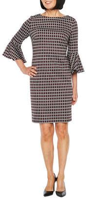 Liz Claiborne 3/4 Bell Sleeve Plaid Shift Dress