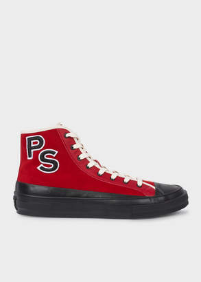 Paul Smith Men's Red Suede 'Kit' High-Top Trainers With 'PS' Embroidery