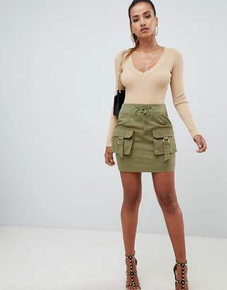 PrettyLittleThing cargo pocket mini skirt in khaki
