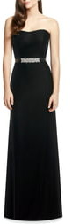 Dessy Collection Embellished Belt Strapless Velvet Gown