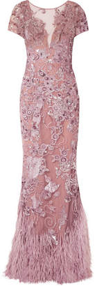 ZUHAIR MURAD Feather-trimmed Embellished Silk-blend Tulle Gown - Antique rose