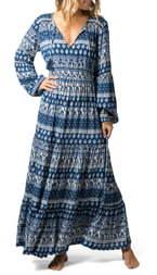 Rip Curl North Coast Print Long Sleeve Maxi Dress