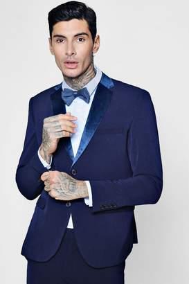 boohoo Skinny Fit Suit Jacket With Velvet Lapel